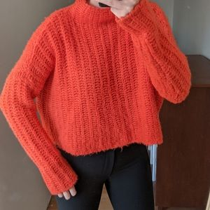 Amazing Orange Cropped Sweater Top Knit - Aerie